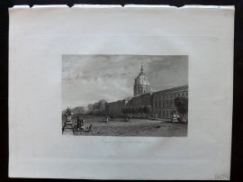 After Vickers 1834 Antique Print. Royal Palace, Charlottenburg, Germany